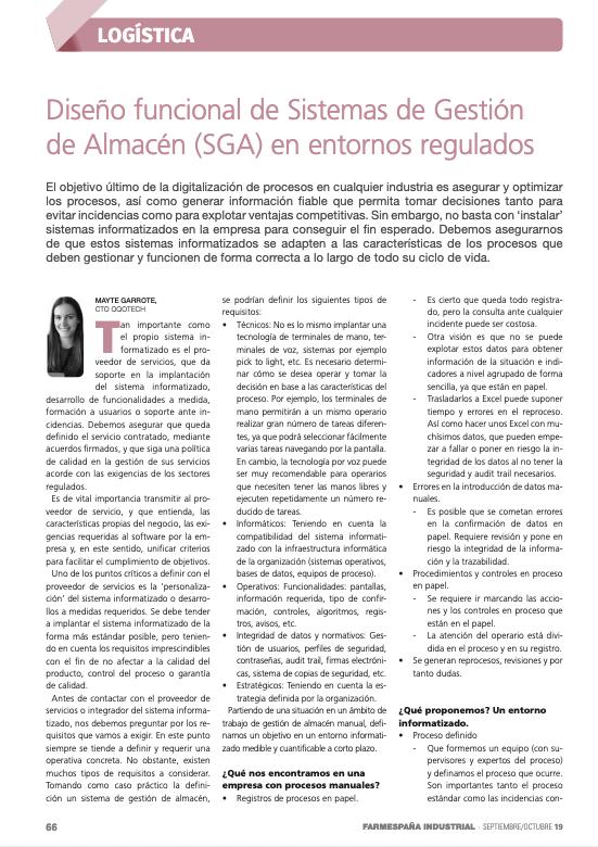 Diseño funcional de Sistema de Gestión de Almacén (SGA) en entornos regulados